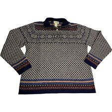 New listing LL Bean Pullover Sweater Mens Medium 1/4 Zip 100% Lambs Wool Unique Pattern