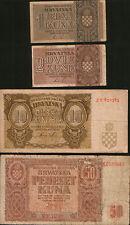 Croatia lot 4 banknotes 1941-1942. P-1, P-5P-7 P-8. WWII NDH. F/VF