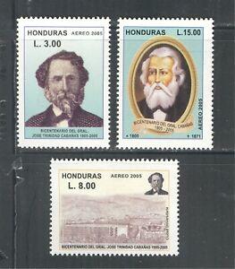 HONDURAS 2005, CELEBRITIES, FAMOUS PEOPLE, EDUCATION, Scott C1214-C1216, MNH