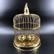 Large Vintage Solid Brass Bird Cage - Swing, Perch, 2 Feeders Hand Made India