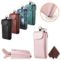 Fintie Double Glasses Pouch Case W/Carabiner Hook Portable Leather Anti-Scratch