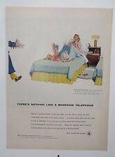 Original Print Ad 1956 BELL TELEPHONE SYSTEM Bedroom Telephone