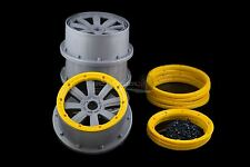 Mad Max 8 Spoke Rims With Beadlocks Grey & Yellow For KM & HPI Baja 1/5th RC