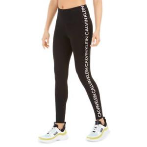 Calvin Klein Womens Black Logo White Stripe High-Waist 7/8 Leggings Size M $59