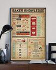 Baker Knowledge Baking Starter breads pan Conversion Chart Poster, Unframed
