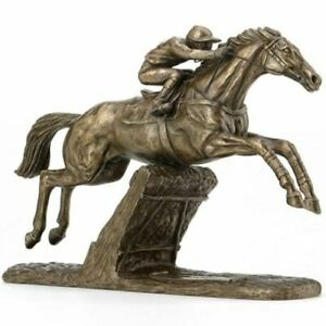 Champion Hurdler S by Harriet Glen Cold Cast Bronze Horse and Jockey Sculpture.