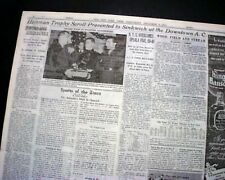 GEORGIA BULLDOGS College Football Frank Sinkwich HEISMAN TROPHY 1942 Newspaper