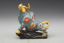 A Bronze Cloisonne Fengshui animal statue cattle Bull ox Deco Sculpture