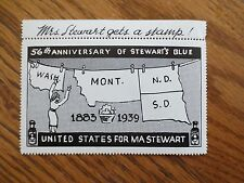 1939 Mrs. Stewart's Blue Clothes Washing Product Soap Sticker 56th Anniversary