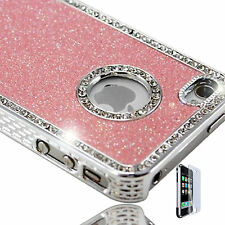 Baby Pink Glitter Bling Hard Case Cover For Apple Iphone 4s & Screen Protector