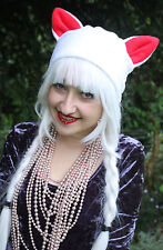 KITTY CAT WHITE RED EARS SCENE EMO GOTHIC HAT COSPLAY INDIE HALLOWEEN GOTH
