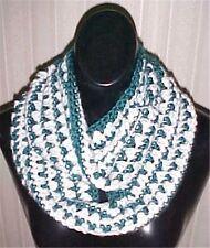 Hand Crochet Jade Green/White Loop Infinity Circle Scarf/Neckwarmer #202 New