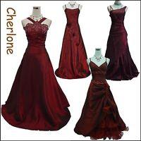 Cherlone Satin Burgundy Prom Ball Gown Bridesmaid Formal Wedding/Evening Dress