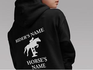 HORSE RIDING HOODIE PERSONALISED HOODIE  EQUESTRIAN JUMPING CUSTOM HOODED SWEAT