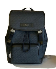 Michael Kors Mens Cooper Perforated Leather Backpack Baltic Blue