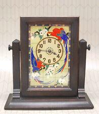 ANTIQUE DECO 1927 NEW HAVEN PAROQUET CLOCK TILT SWING FRAME PARROT REVERSE GLASS