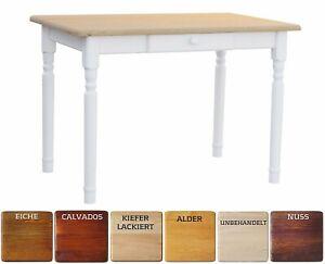 Esstisch Küchentisch Tisch MASSIV KIEFER weiß honig MIT SCHUBLADE - NEU