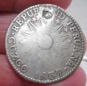 1837) 2 REALES( CUZCO ) SOUTH PERU (SILVER) ---VERY RARE----