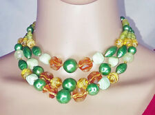 "to 16"" Adjustable Greens & Golds Vintage Triple Strand Beaded Necklace 14"""