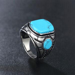 Vintage Men's Turquoise Ring Stainless Steel Retro Signet Biker Jewelry Ring