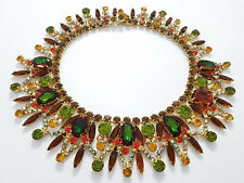 VINTAGE RARE D&E JULIANA BIB COLLAR NECKLACE BOOK PIECE FALL COLORS
