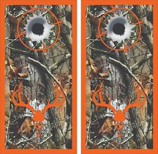 Camo Bullet Hole Deer Skull Cornhole Board Skin Wrap Decal SET -LAMINATED