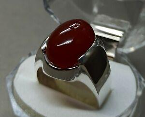 Natural Khabadi Rich Brown Agate Mens Sterling Silver 925 Handmade Aqeeq Ring