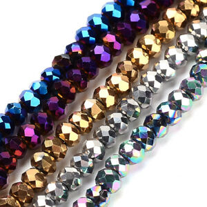 10 Strds Electroplated Glass Beads Rondelle Faceted Loose Beads Tiny Craft 3x2mm