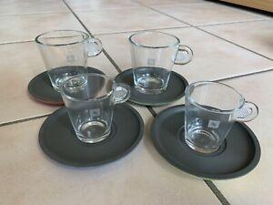 Nescafe Nespresso 4 Espresso / Cappuccino Tassen mit Untertassen klein & groß