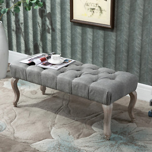 Grey French Ottoman Bench Tufted Button Chaise Lounge Bed End Shabby Chic Seat