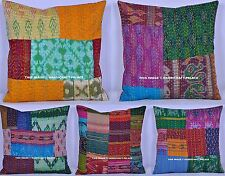10 PC Wholesale Lot Silk Kantha Work Pillow Case Patchwork Sofa Throw Cushion