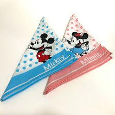 Vintage Disney Mickey & Minnie Mouse Handkerchief Bandanas x 2 - AUS SELLER