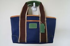 Coach Mini Hampton Carryall Tote Bag Purse Blue Green Nylon Signature Interior