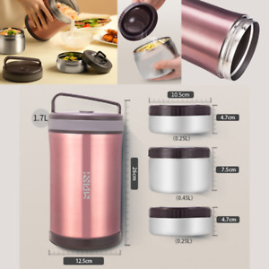 Bento Lunch Box Stainless Steel Insulated 3 Layer Food Jar Vacuum Insulated Box