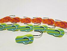 Shower Curtain Hooks Set of 12 Flip Flops Sandles Orange Green Pink Blue 2 inch
