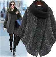 Womens Ladies Thicken Wool Blend Jacket Winter Warm Outwear Casual Loose Coat
