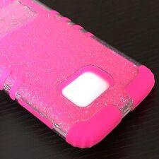For Samsung Galaxy S7 -HYBRID HARD&SOFT HIGH IMPACT SKIN CASE PINK CLEAR GLITTER