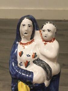 Ancienne statue Vierge a l'enfant faience de Quimper XIX eme