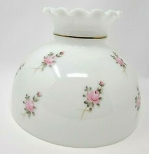 Royal Craft Milk Glass Lamp Shade Globe Top Hand Painted Pink Roses