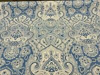 Kravet Echo Cyprus Blue White Damask Drapery Upholstery Fabric By the Yard