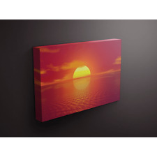 Beautiful Pinky Coral Sunset on Calm Water 16x24 Canvas Gallery Wrap Wood Frame