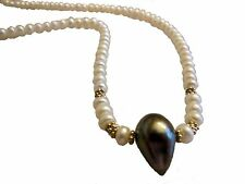 NEW: Unusual Teardrop Tahitian Pearl on Chinese Freshwater button pearl necklace
