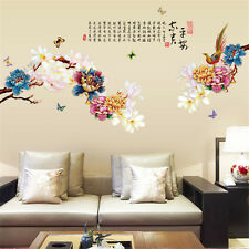 Flowers Peony China Room Home Decor Removable Wall Stickers Decals Decoration