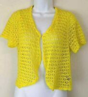 AGB Yellow Crop Cardigan Crochet Sweater Top Short Sleeve Knit Layer Size 12