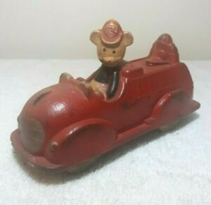 1930's Sun Rubber Co. Mickey Mouse Donald Duck Fire Truck