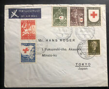 1953 The Hague Netherlands Airmail Cover To Tokyo Japan Red Cross Stamps #b254-8