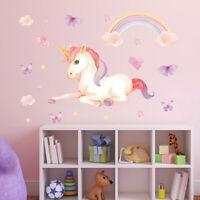 Kids Room Nursery Wall Stickers Unicorn Wall Decal Butterfly Cloud Art Decor