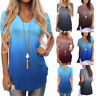 Womens Short Sleeve V-Neck Gradient Colour Loose Casual Tee T-Shirt Tops Blouse