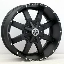 "20"" Matte Black Lonestar Gunslinger Wheels 20x9 Inch 5x139.7 Dodge 5x127 Jeep"