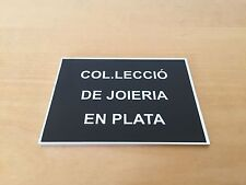 Plate Exposant Exhibitor Plaque COLLECTION OF JEWELLERY IN SILVER - Aluminium